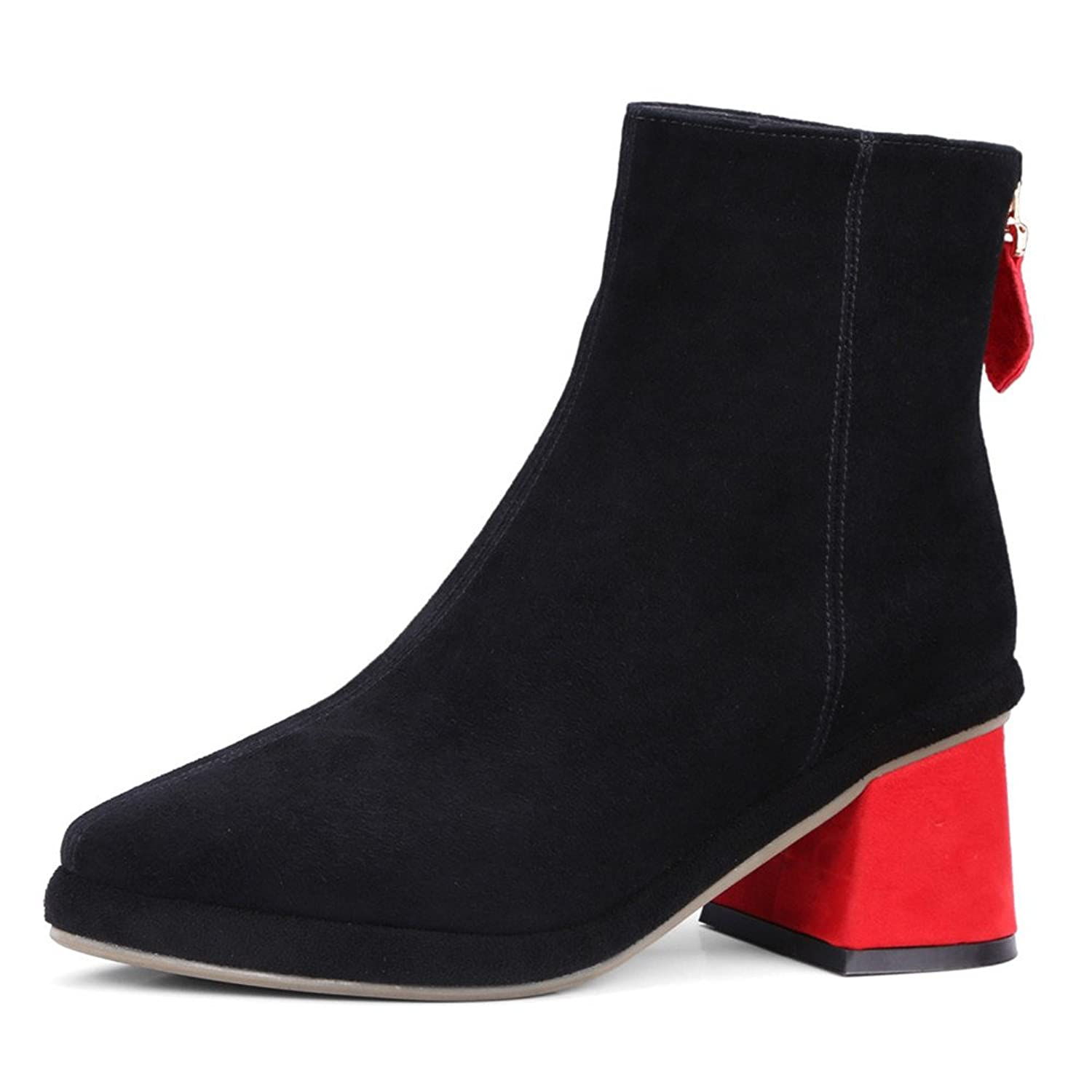 Nine Seven Suede Leather Women's Pointed Toe Chunky Heel Fashion Handmade Comfort Ankle Booties