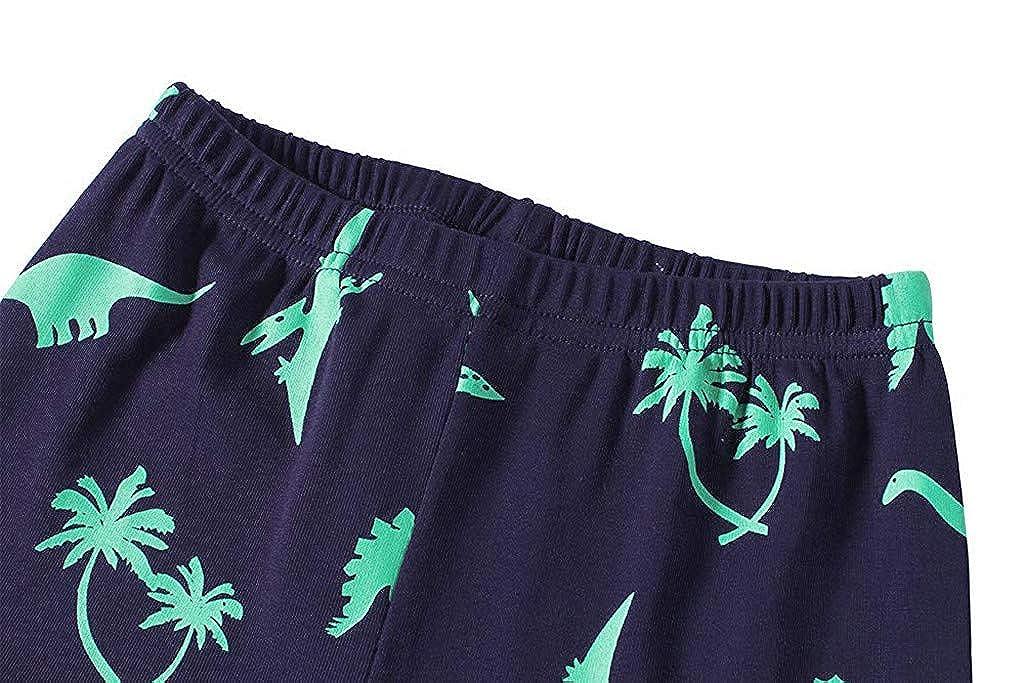 Ensembles Pyjama Enfant Gar/çon 1-7 Ans T-Shirt Hauts /à Manches Longues et Pantalon Gar/çon Costume Imprim/é Dinosaure