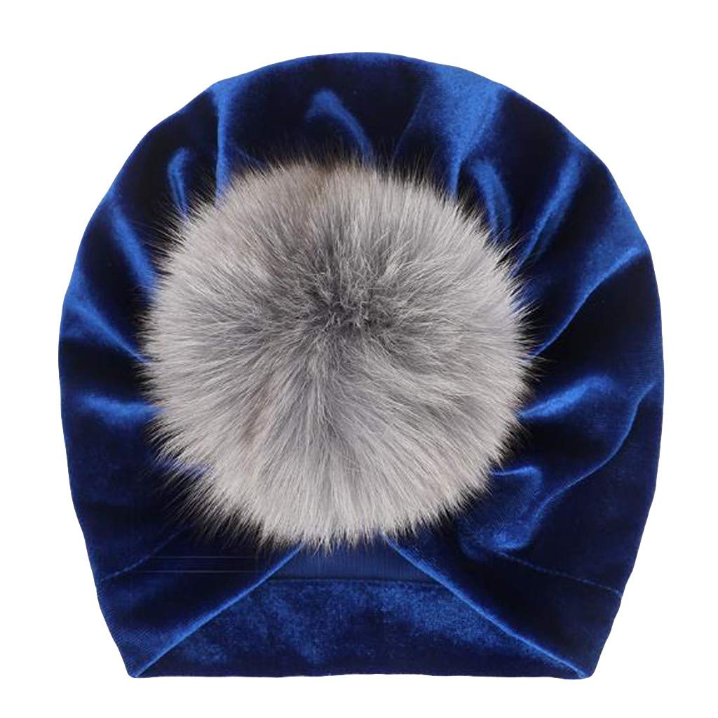 Baby Velvet Turban Hat Girls Boys Fashion Hairball Beanie Hat Toddler Baby Cotton Cute Head Wrap Winter Autumn Spring Baby Hats for 1-4 Years Toddler Baby Hat,Fulltime TM