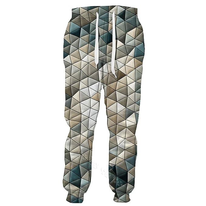 Sólido ilusión Visual geometría 3D Print Pantalones de chándal ...