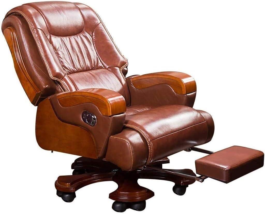 WYKDL Ejecutivo giratoria ajustable silla giratoria de oficina con brazos soporte lumbar Escritorio Silla ergonómica Silla ejecutiva de negocios de madera maciza silla reclinable Silla giratoria Inici