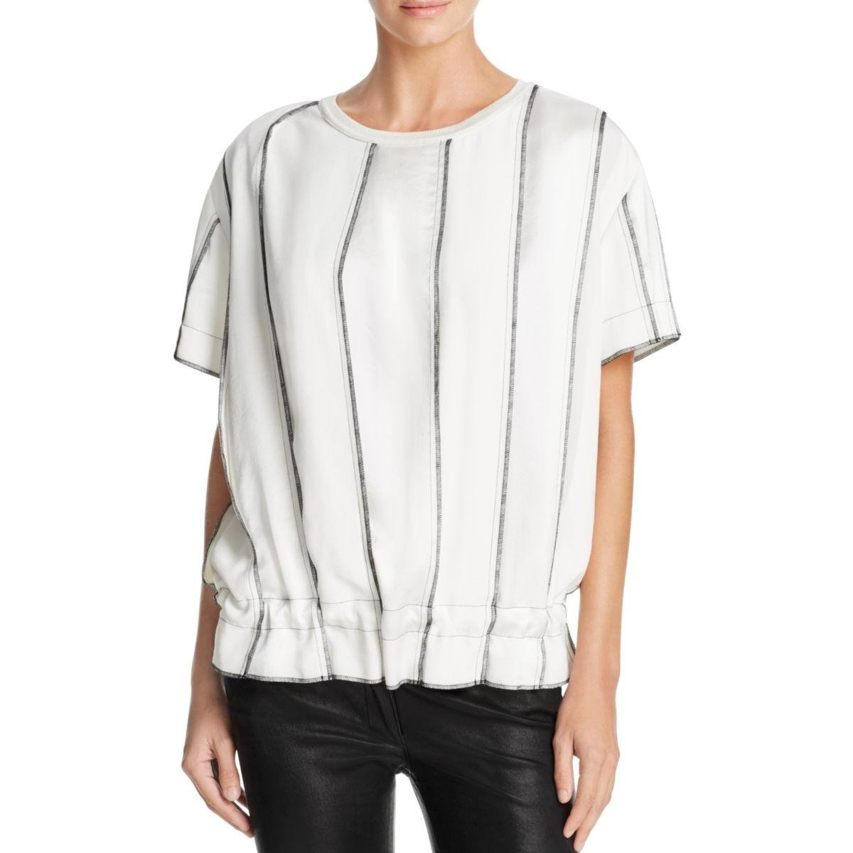 DKNY Womens Short Sleeve Panelled Casual Top Black-Ivory S