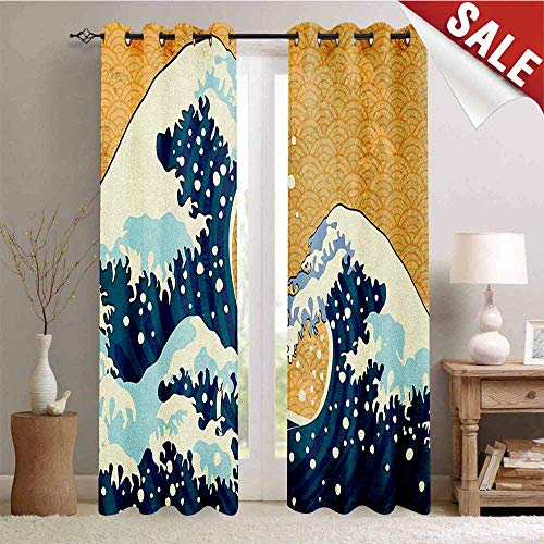 - Japanese Wave, Waterproof Window Curtain, Sea Storm in Japan Traditional Drawing Foamy Great Waves, Decorative Curtains for Living Room, W108 x L96 Inch Earth Yellow Dark Blue White