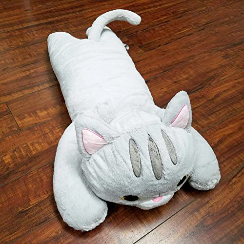 Best Buy! Tokyo Japanese Gift - Long Body Pillow Small 26 Long (Grey Cat)