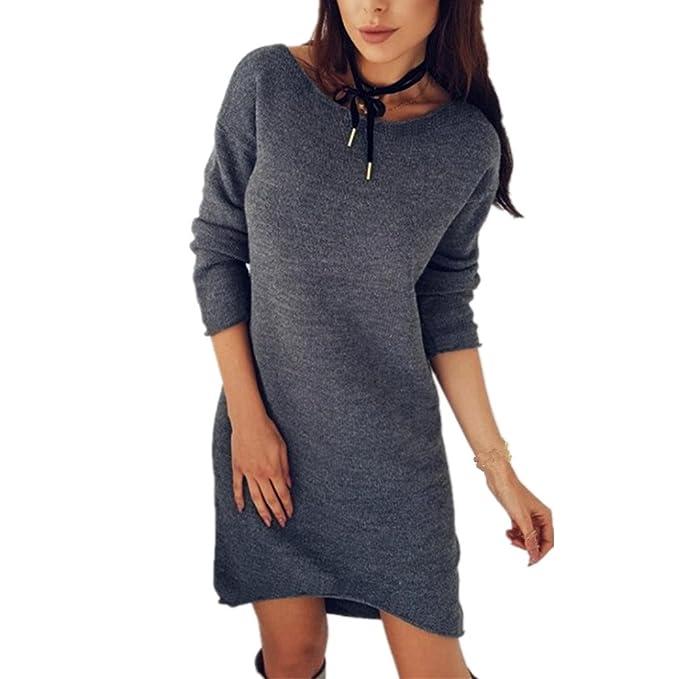 Longra Damen Mode Pullover Kleider Strickkleid Sweater Winterkleider Kleid  Sweatkleid Strickkleider Frauen Langarm Kausal Stricksweat Strickpullover  ... 35b653135a