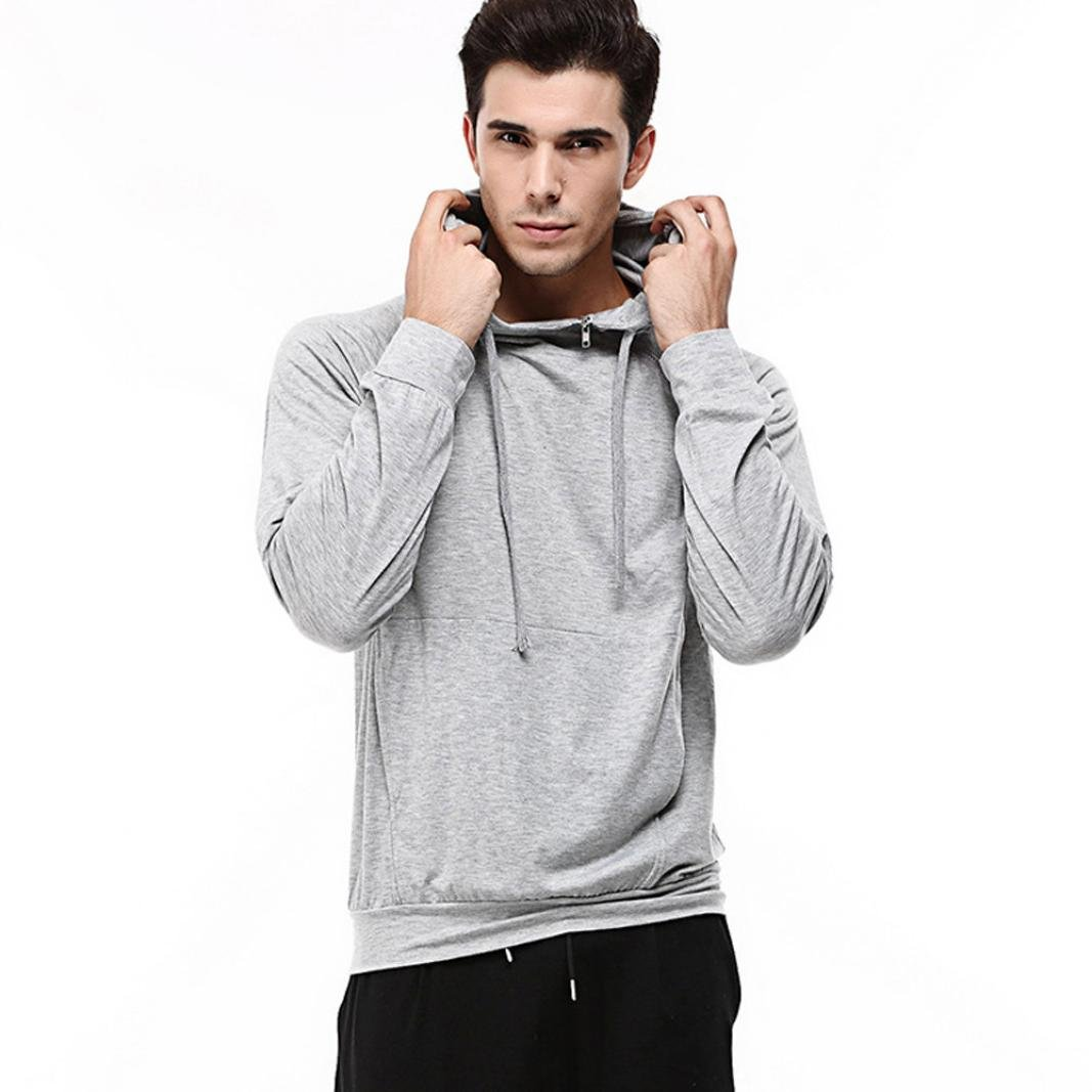 WM & MW Fashion Men's Pullover Hoodies Long Sleeve Solid Zipper Side High-neck Hooded Sweatshirt Tops Hoodie Shirt (XL=(US:L), Gray)