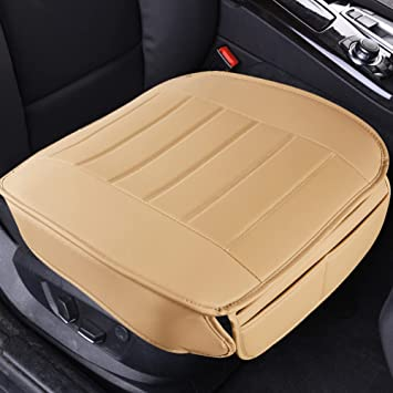 Beige Car Front /& Rear Back Seat Cover PU Leather Breathable Protector Pads HOT