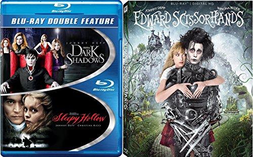 Tim Burton Edward Scissorhands Blu Ray + Sleepy Hollow & Dark Shadows Johnny Depp Fantasy Action set
