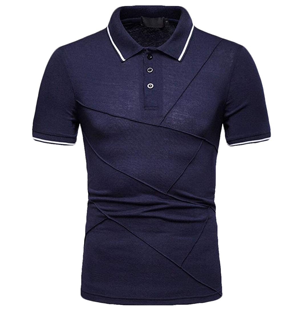 YY-qianqian Mens Solid Short Sleeve T-Shirt Slim Business Stylish Polo Shirt