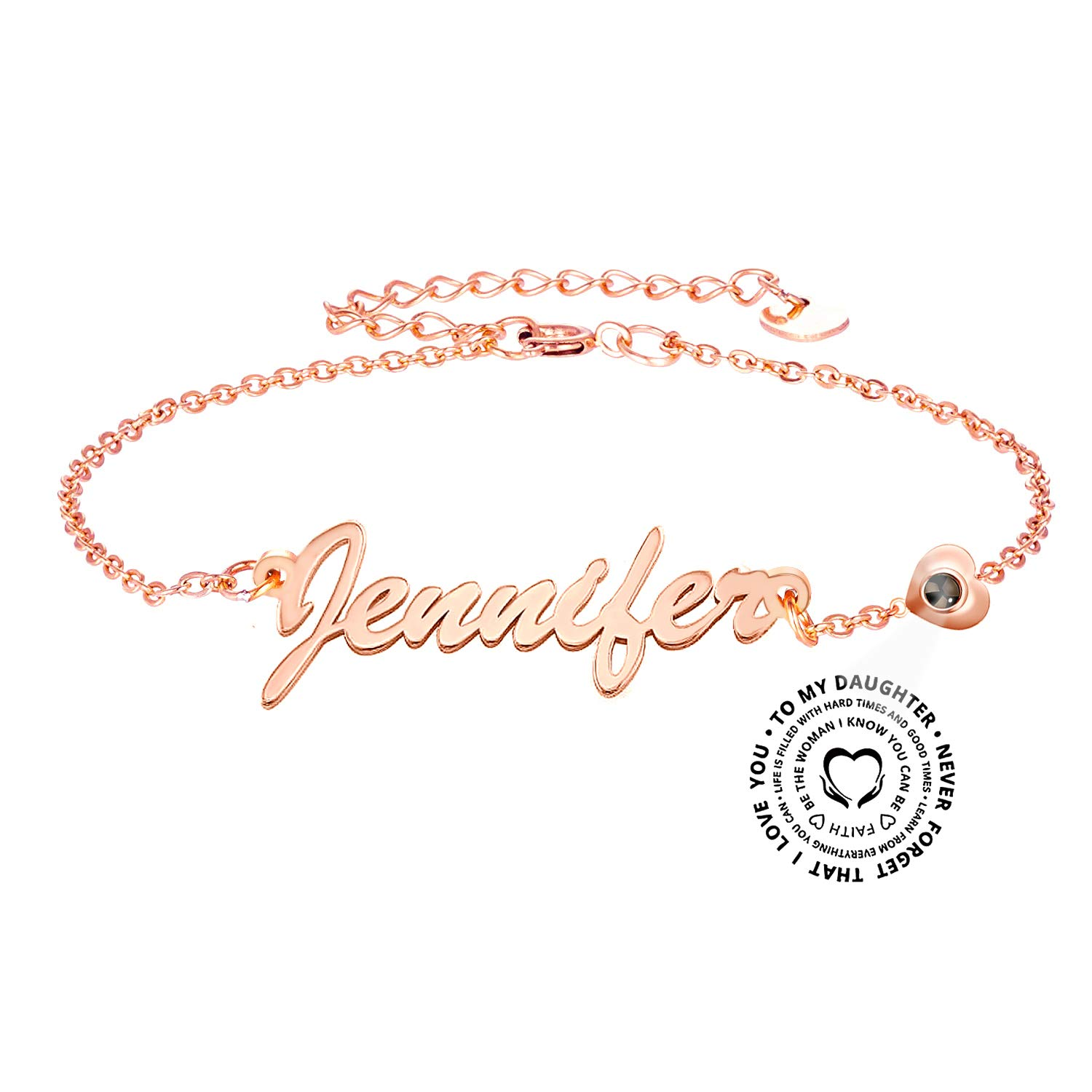 lovefir Personalized Name Necklace by Projection Style Gift for Your Daughter by 925 Sterling Silver