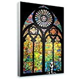 Alonline Art - Stained Glass Window Church Cathedral Banksy Framed Stretched Canvas (100% Cotton) Gallery Wrapped - Ready to Hang | 26''x16'' - 65x41cm | Framed Art for Living Room Framed Wall Art