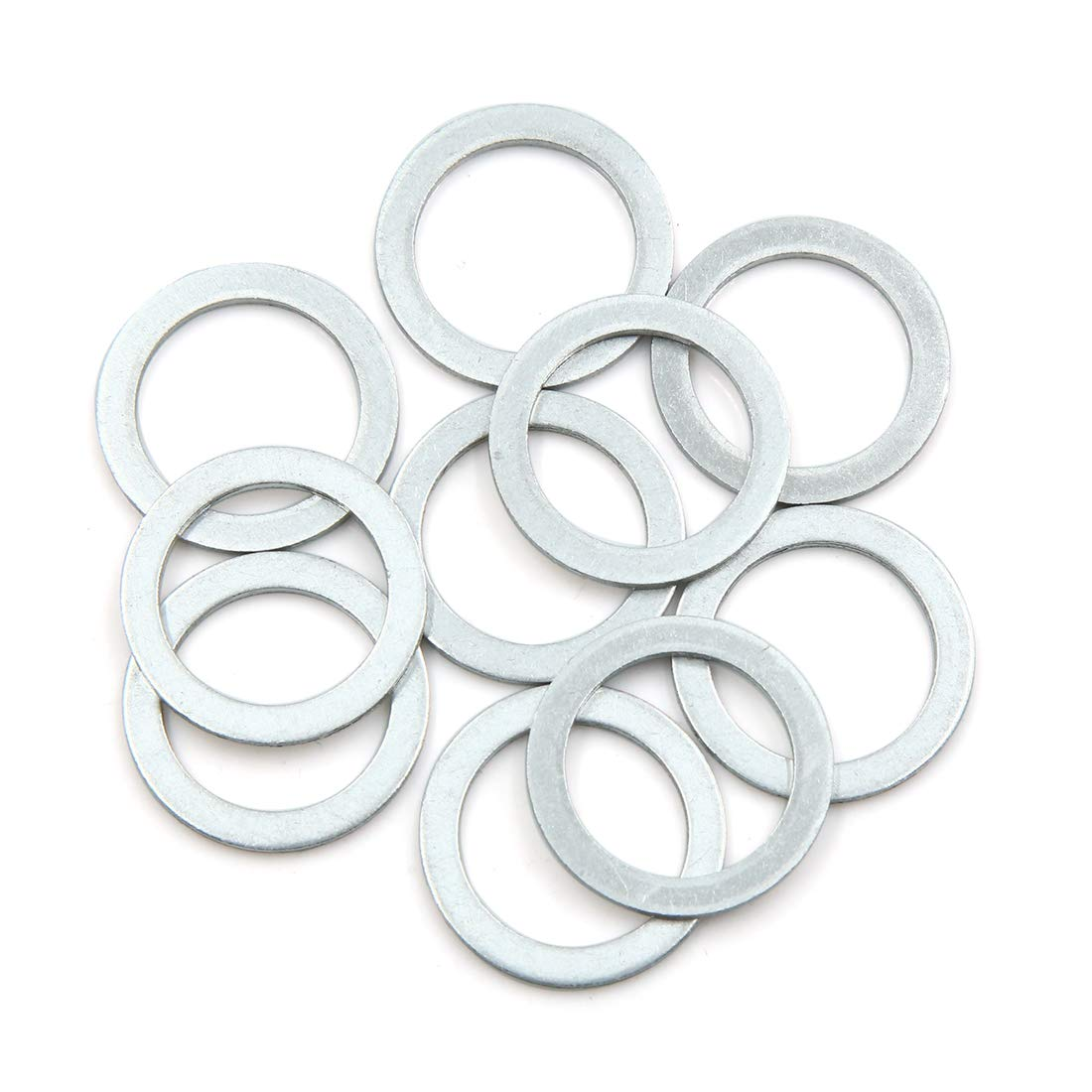 X AUTOHAUX 10pcs Engine Oil Crush Washers Drain Plug Gaskets 20mm ID 28mm OD Aluminum Alloy for Car