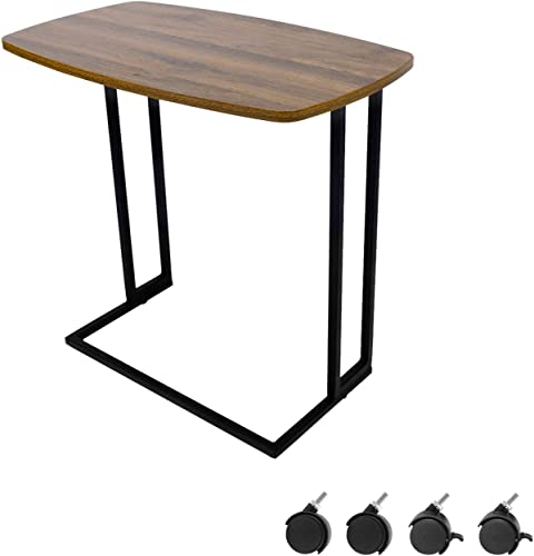 Modern Side Table, Moncot Mobile C Shaped End Table with Detachable Casters, Wood Top Walnut Rectangle TV Trays, Couch Table for Living Room, Bed Room and Home Office, ET220B-WN