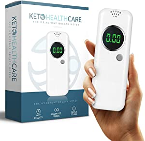 KetoHC Premium Ketone Breath Meter Kit with X6 Reusable Mouthpieces, Get Instant, Accurate Ketosis Test Results Today