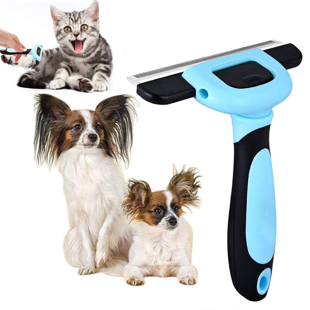NOBGP 2 Pack Pet Deshedding Tool Grooming Brush for Dogs and Cats with Safe Stainless Steel Trimming Blades for Short Medium Long Fur Reduces Pet Hair Shed by Up to 95%