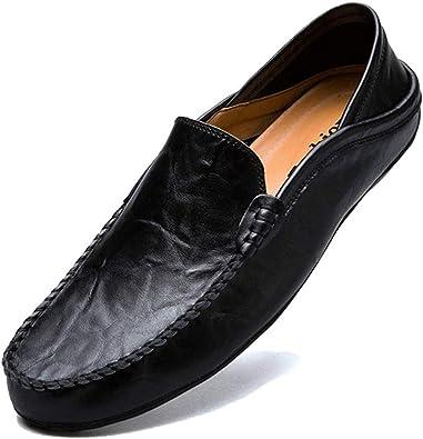 LSGEGO Hombres Moda Mocasines Zapatos de Negocios Bota de Cuero Genuino Transpirable Correr Caminar Oficina Casual Todos los Días Entrenadores Al Aire Libre Marrón Negro