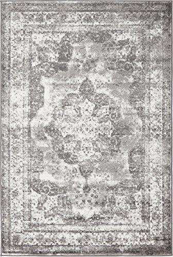 Traditional 4 feet by 6 feet (4' x 6') Sofia Gray Area Rug