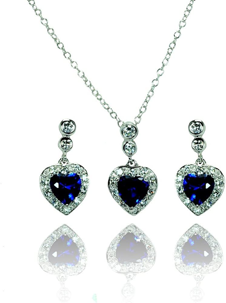 Princess Kylie Halo Set Clear Cubic Zirconia Heart Earrings Necklace Set Sterling Silver