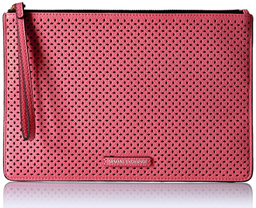 A|X Armani Exchange Perforated Pebble Pu Pouch, Soft Coral