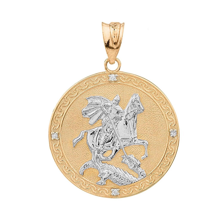 10 KツートンゴールドSaint George Medal保護ダイヤモンドチャームペンダント(大) B0794KGM8L