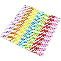 Vicloon 175-Delige Papieren Drinkrietjes voor Eenmalig Gebruik, Kleurrijke Strepen Wegwerpdecoratie Papieren Rietjes…