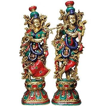 Radha Krishna Idol – Set of 2 – Brass Idols – Turquoise Coral Color – 29
