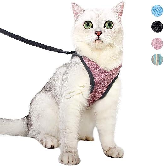 Dotoner Arnes Gato Juego de arnés y Correa para Gato Ultraligero Suave y cómodo Chaqueta para Caminar para Gatos Acolchada a Prueba de Escapes Apto para Cachorros Conejo (S,Rosa): Amazon.es: Productos para