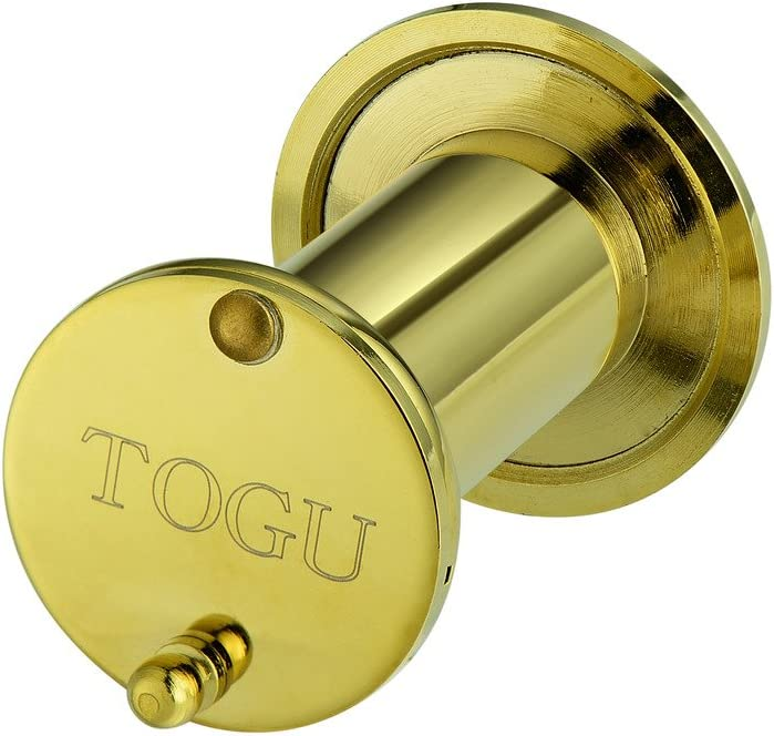 Brushed Satin Gold Finish Togu 3016YG-SC Brushed Satin Gold Brass UL Listed 220-degree Door Viewer with Heavy Duty Privacy Cover for 1-3//8 to 2-1//6 Doors