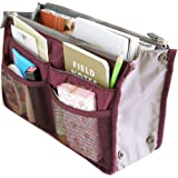 Hee Grand Women's Handbag Organiser Liner Tidy Travel Cosmetic Pocket Insert 12 Pockets Large Wine