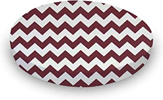 product image for SheetWorld Fitted Oval Crib Sheet (Stokke Sleepi) - Burgundy Chevron Zigzag - Made In USA