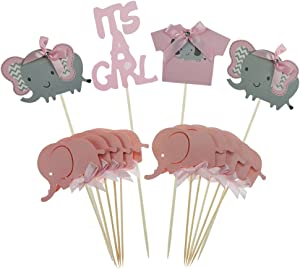 Keklle Pink Elephant Cake Topper Baby Elephant Themed Cupcake Picks It Is A Girl Baby Shower Birthday Party Decorations Supplies