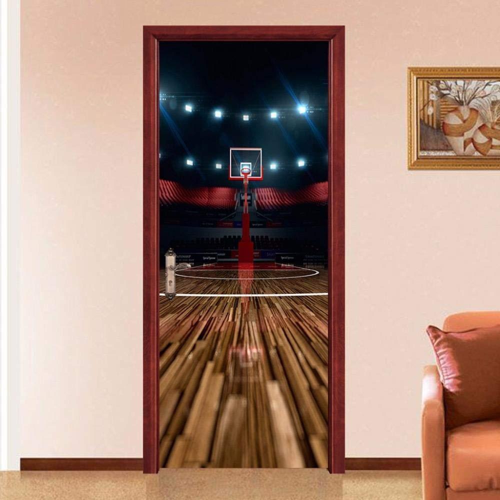 Autocollants De Porte Auto-Adh/ésifs 3D Basket-Ball Cour Porte Murale Stickers Muraux Porte Pvc Salon Chambre Porte Stickers Diy Papier Peint Vinyle D/écoration 95X215CM