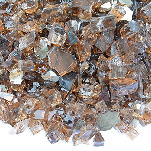 Onlyfire Reflective Fire Glass for Natural or Propane Fire Pit, Fireplace, or Gas Log Sets, 10-Pound, 1/4-Inch, - Rocks Glass Fireplace
