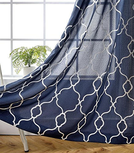 Miuco Moroccan Embroidered Semi-Sheer Curtains Faux Linen Grommet Window Panels for Doors 52 x 95 Inch 2 Panels, Navy Blue