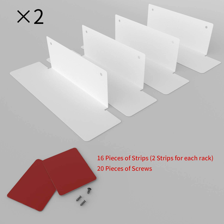 BasicForm Especiero Organizador Apilable Estantes de Metal para el Gabinete de la Cocina 2 Opciones de Instalaci/ón Bandas//Tornillos Paquete de 8 Blanco