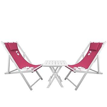 3 piezas Juego de muebles de jardín - 2 x Tumbona plegable ...