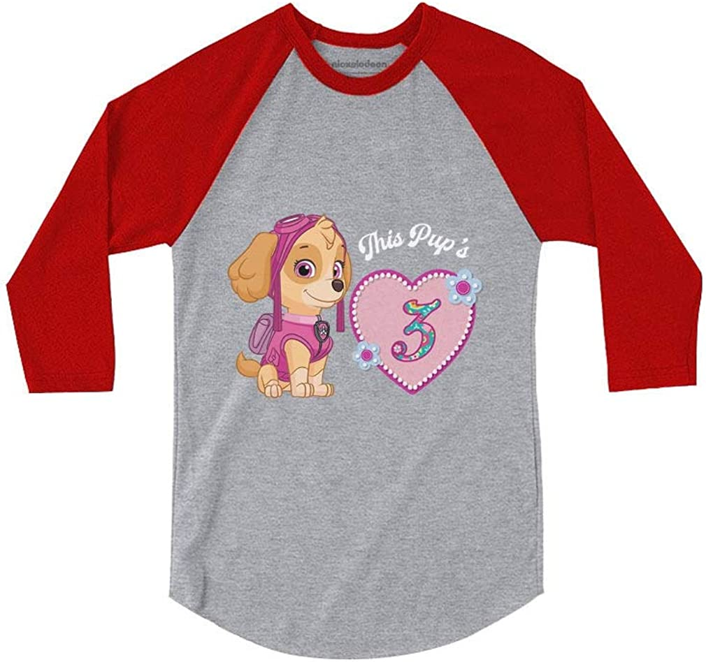 Official Paw Patrol Skye 3rd Birthday 3//4 Sleeve Baseball Jersey Toddler Shirt