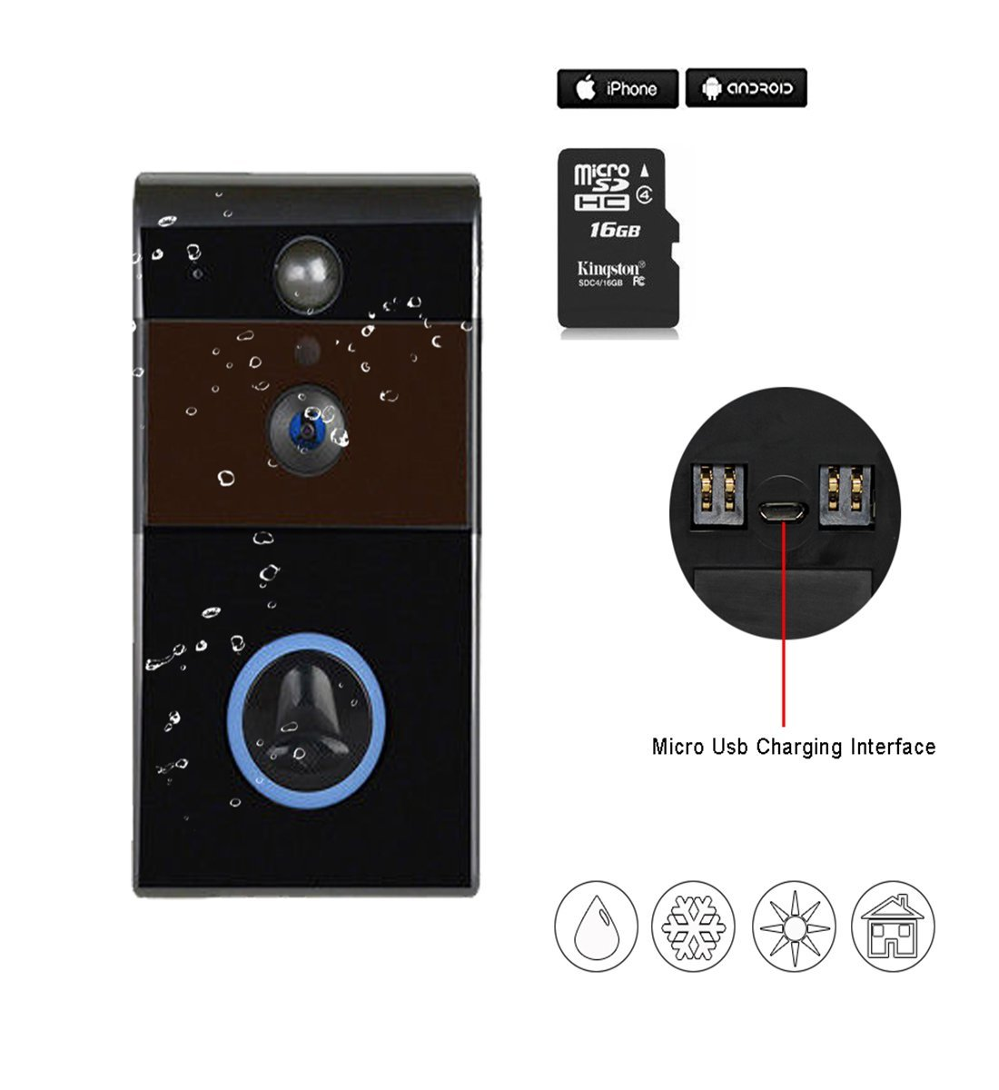 Wi-Fi Enabled Video Doorbell Wireless Door Bell Waterproof Rechargeable 16GB MicroSD Card Smart Video Doorbell Camera PIR Motion Sensor,Night Vision,Two Way Talking for iPhone and Android