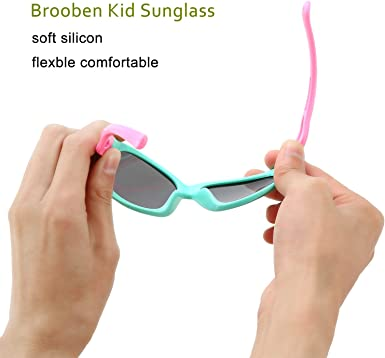 Brooben Kids Sports Style Polarized Sunglasses Rubber Flexible Frame For Boys And Girls S8186