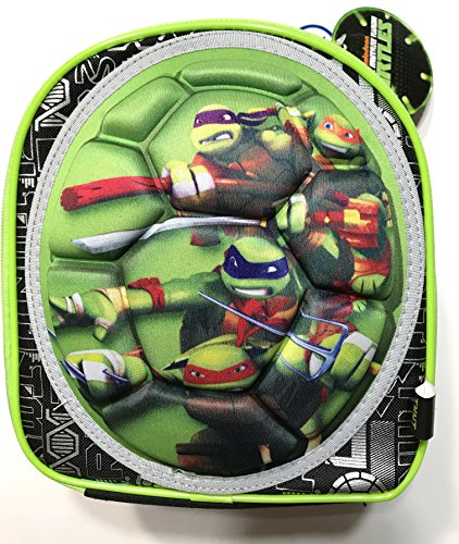 Teenage Mutant Ninja Turtles Insulated Zippered Lunch Tote with Handle, 3D Turtle Shell with character graphics of Donatello,Michaelangelo,Leonardo,Raphaelo , 9 inches L x 8 inches W x 5 inches Deep