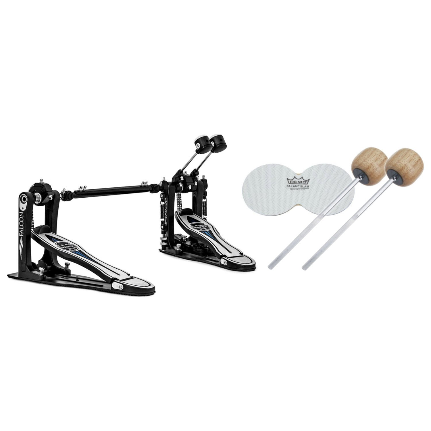 Mapex PF1000TW Falcon Double Bass Drum Pedal w/ Extra Beaters and Impact Patch PF1000TW BUNDLE