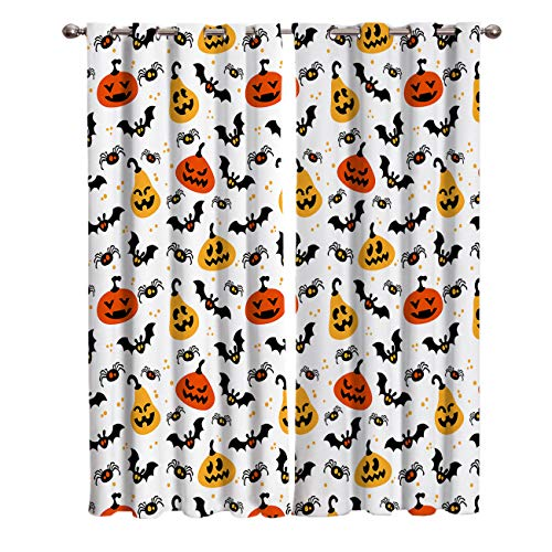 Blackout Window Kitchen Curtains Drapes, 2 Panels Set Window Treatment for Living Room/Bedroom/Office,Halloween Theme Spider Web Pumpkin Magical Nature Art on White Polka Dot Backdrop, 104W by 84L in -