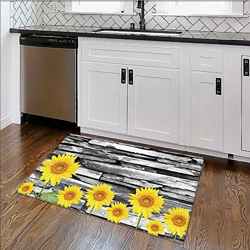Thick Soft Plush Living Room Rug Rustic Sun with Leafs on Stone Wall Back Elegance Print Yellow Green Grey Easy Clean Resistant W22