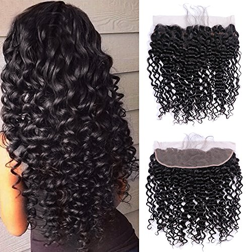 Ucrown Hair 13x4 Ear To Ear Lace Frontal With Baby Hair Brazilian Deep Wave Frontal Lace Closure Deep Curly Virgin Human Hair (16inch)