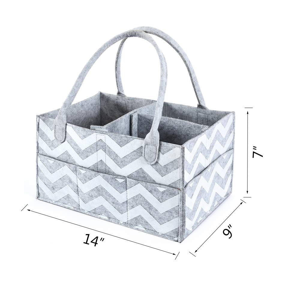 Gray /& White Stripe AURELIUS Baby Diaper Caddy Organizer Portable Nursery Storage Bin Gray Flet Baby Shower Gift Basket