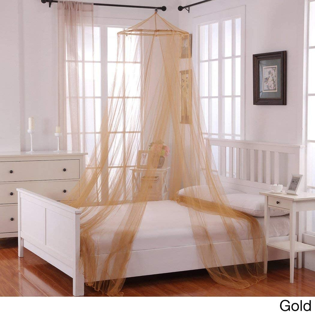 - Girls Yellow Gold Hanging Brown Bed Canopy, Ceiling Bed Frame