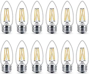 Philips LED Classic Glass Dimmable B11 Light Bulb: 300-Lumen, 2700-Kelvin, 3.3-Watt (40-Watt Equivalent), T20 Certified, E26 Base, Warm Glow, 12-Pack, Soft White (546762)
