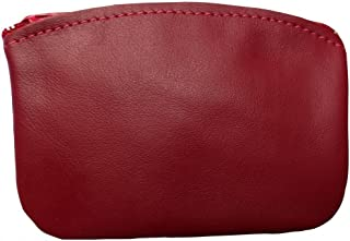 product image for North Star Men's Large Leather Zippered Coin Pouch Change Holder 5 X 3.5 X 0.25 Inches Red
