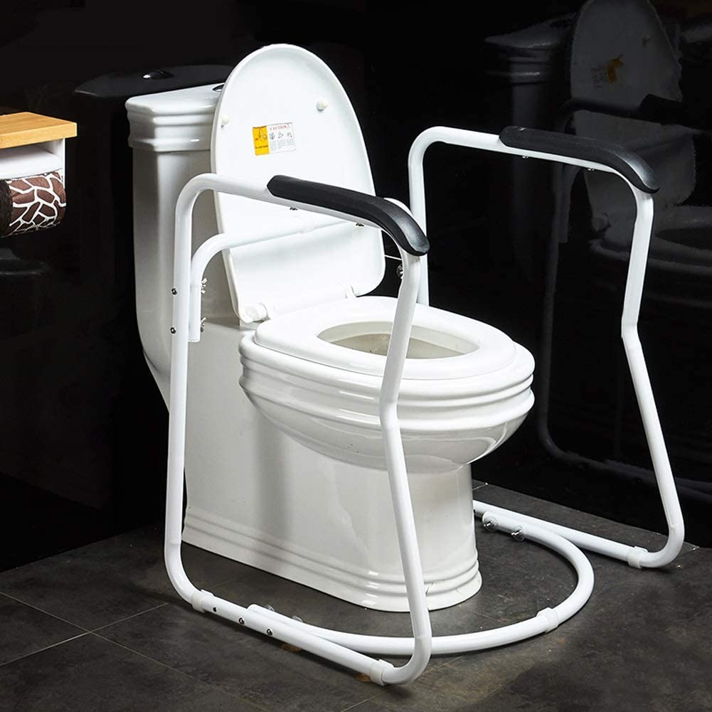 Bathroom Toilet Safety Rail Assist Frame with Anti-Slip PU Grab Bar Handle Handrail, for Elderly Senior Handicap Disabled Toilet Seat