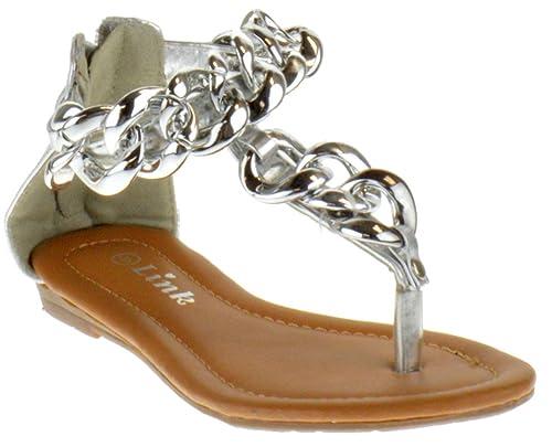 b03dbf66b4bf Link Nini 05K Little Girls Chain Thong Sandal Silver 9